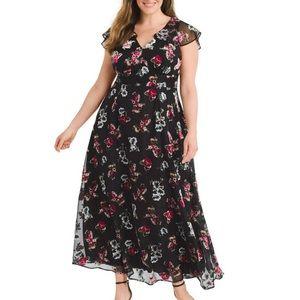 Anna Sui ModCloth Black Floral Print Maxi dress